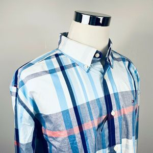 Tommy Hilfiger XL Classic Shirt Blue Pink Plaid